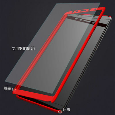 For Xiaomi Redmi 7 7A 6A Note 8 7 6 5 Pro 360° Full Cover Case + Tempered Glass 3