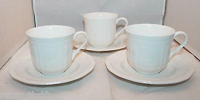 New Set Of 3 Mikasa Ultima Plus Hk 400 Antique White Coffee Tea Mug Cups Saucers