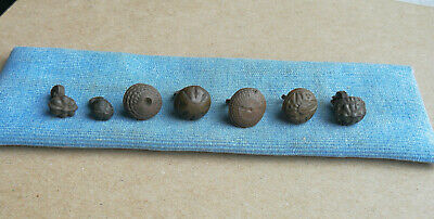 Ancient Viking Lot Of 7 Tin And Bronze Buttons With Rare Ornament 2