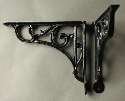 "Pair of Black 8"" ANTIQUE CAST IRON VICTORIAN SHELF WALL CISTERN BRACKETS BR10bx2 2"