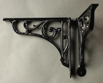 "Pair of Black 8"" ANTIQUE CAST IRON VICTORIAN SHELF WALL CISTERN BRACKETS BR10bx2 2"