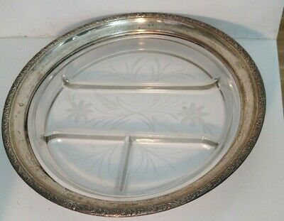 """12"""" vintage Whiting sterling silver etched crystal divided serving tray platter 11"""