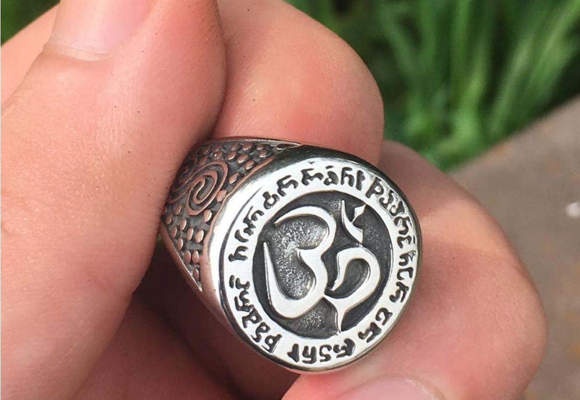 Anillo Budista Fino Mantra Avalokitesvara Ring Thin Buddhist Mantra Avalokitesva