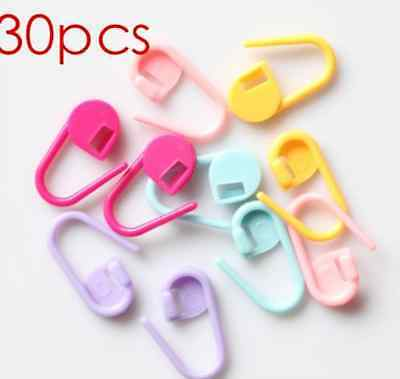 30xMini Colorful Knitting Crochet Locking Stitch Marker Holder Needle Clip Craft 5