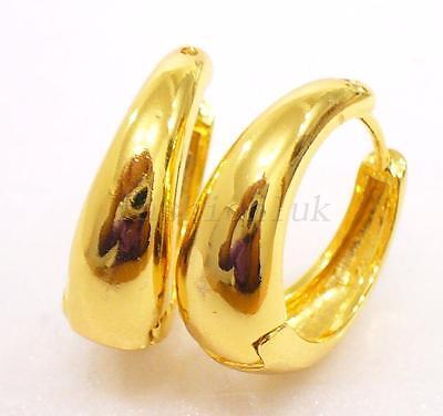 1 Of 3 Fashion1uk Creole 14k Gold Plated Hoop Earrings Boy Men Women