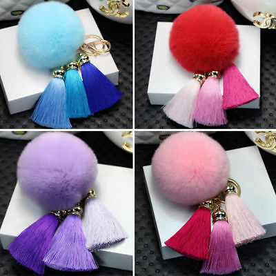 5× 6CM DIY Genuine Rabbit Fur Ball Chain Key Bag Pendants Fur Pompon Keychains 5