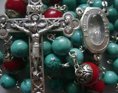 Natural Turquoise & Coral beads Lourdes Water Rosary Cross crucifix Necklace 11