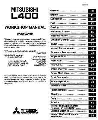 mitsubishi delica l400 l300 spacegear starwagon 2wd-4wd workshop repair  manual 2