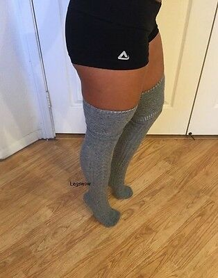 94b641dae ... Womens Cable Knit Over The Knee Thigh High Socks OTK Green School Girl  Thick Emo 3