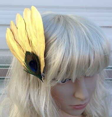 gold fascinator millinery peacock feather hair clip wedding piece ascot 2