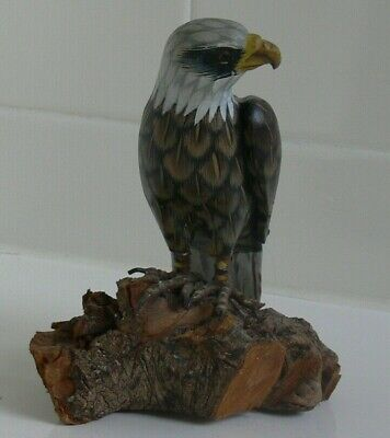 Hand Crafted Wood Carved Eagle Statue on Solid wood base Folk Art Hand Painted 3
