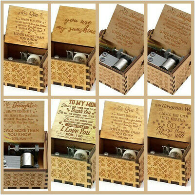 You Are My Sunshine-Wooden Engraved Music Box Gift for Mom/Dad To Daughter/Son 2