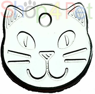 Pet ID Tag Engraved Quality Highly Polished Chrome Solid Cat Shape Face Tags 2 • EUR 3,23