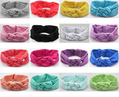Baby Girls Turban Knot Twist Headband Hair band Head Wrap Cute Kids Floral Plain 2