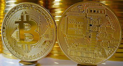 BITCOINS! Gold Plated Commemorative Bitcoin .999 Fine Copper Physical Coin Bit 2