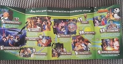 Dreamworks Tours Shrek's Adventure London promo flyer gatefold Kung Fu Panda 3