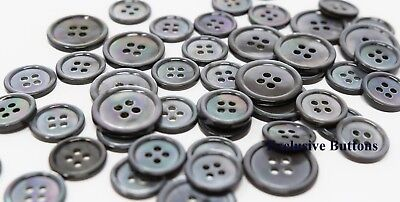 """50 MOTHER OF PEARL SHELL SMOKE SHADE BUTTONS 11.5 MM 7//16/"""" Shirt Size 2hole"""