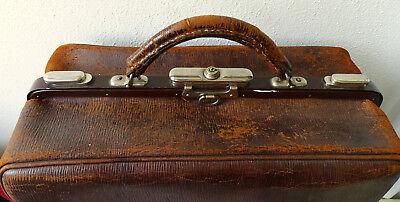 SFS Antike Leder Arzttasche Doktor Tasche Sacvoyage Hebammentasche um 1900 2