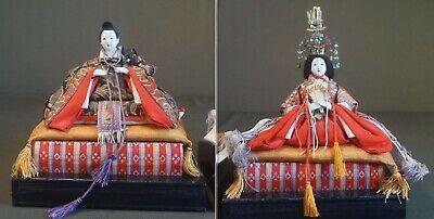 Fine Japanese Meiji Period Emperor & Empress Dolls on Stand 11