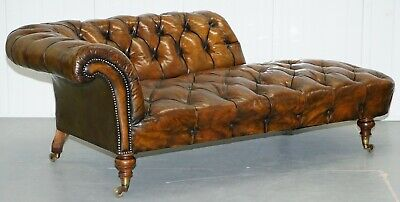 Howard & Son's Restored Brown Leather Chesterfield Chesterbed Walnut Framed 3