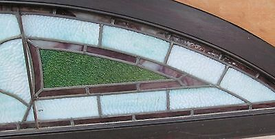 """Antique Judaic Stained Glass Transom Window In Frame - 80"""" Long 7"""