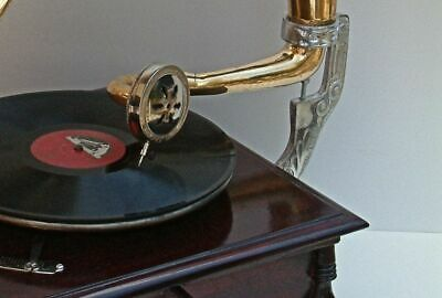 Replica Gramophone Player 78 rpm phonograph Brass Horn HMV Vintage Wind Up 5