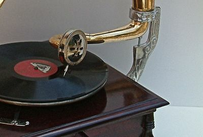 Replica Gramophone Player 78 rpm vinyl phonograph Brass Horn HMV Vintage Wind up 6