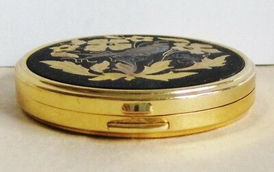 Vintage Russian Metal Powder Box With Mirror Etched Flowers & Bird Gold Tone 7