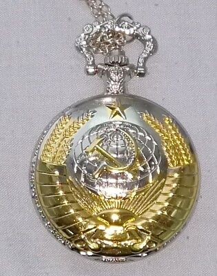 Soviet Pocket Watch Necklace Mens Clock Union USSR Moscow Vintage Putin Russia 11