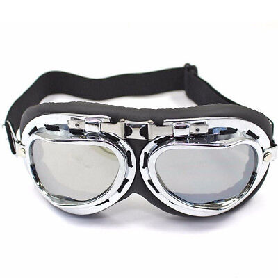Red Baron Pilot Aviator Flying Goggles Vintage Motorcycle Racer Steam Punk Rxt
