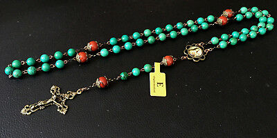 Red Carnelian & Howlite Beads Catholic Rosary Antiqued Bronze Crucifix Necklace 4