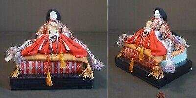 Fine Japanese Meiji Period Emperor & Empress Dolls on Stand 5