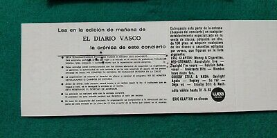ERIC CLAPTON  UNUSED TICKET  Spain FREE SHIPPING WORLDWIDE WITH TRACKING 5