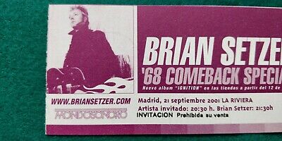 BRIAN SETZER Stay Cats  UNUSED TICKET  Spain FREE SHIPPING WORLDWIDE TRACKING 4