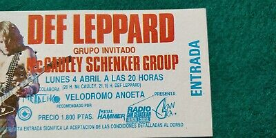 DEF LEPPARD Hysteria Tour  UNUSED TICKET Spain FREE SHIPPING WORLDWIDE TRACKING 3