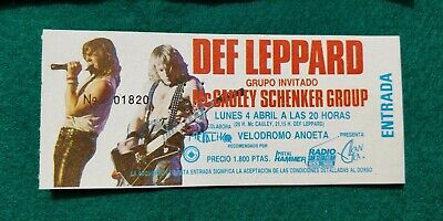 DEF LEPPARD Hysteria Tour  UNUSED TICKET Spain FREE SHIPPING WORLDWIDE TRACKING 2
