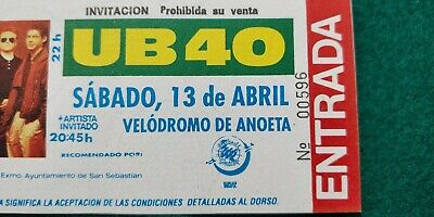 UB40  UNUSED TICKET  Spain FREE SHIPPING WORLDWIDE WITH TRACKING 3