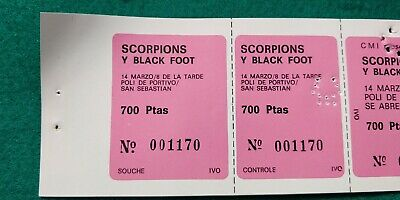 SCORPIONS BLACK FOOT  1982 UNUSED TICKET Spain FREE SHIPPING WORLDWIDE TRACKING 4