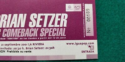 BRIAN SETZER Stay Cats  UNUSED TICKET  Spain FREE SHIPPING WORLDWIDE TRACKING 3