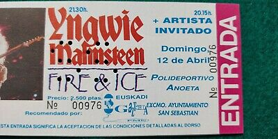 YNGWIE MALMSTEEN 1992 UNUSED TICKET  Spain FREE SHIPPING WORLDWIDE WITH TRACKING 3