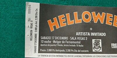 HELLOWEEN  UNUSED TICKET Spain FREE SHIPPING WORLDWIDE WITH TRACKING 4