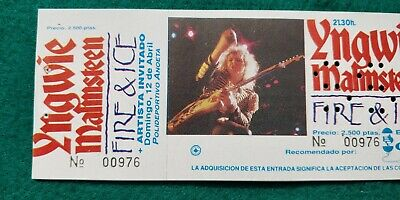 YNGWIE MALMSTEEN 1992 UNUSED TICKET  Spain FREE SHIPPING WORLDWIDE WITH TRACKING 4