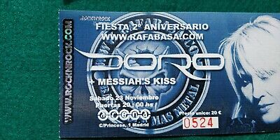 DORO MESSIAHS KISS UNUSED TICKET Spain FREE SHIPPING WORLDWIDE WITH TRACKING 4