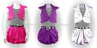 New Girls Belted Party Dress with Jacket Outfit Set Age 2 4 6 8 10 years 3