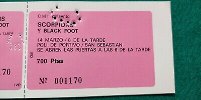 SCORPIONS BLACK FOOT  1982 UNUSED TICKET Spain FREE SHIPPING WORLDWIDE TRACKING 3