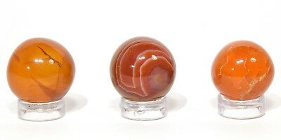 20mm Orange Carnelian Agate Sphere Polished Crystal Mineral Ball Madagascar 1PC