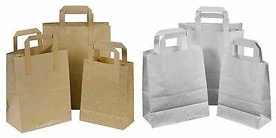 Kraft Paper Brown & White Sos Food Carrier Bags With Handles Party Takeaway Etc 3