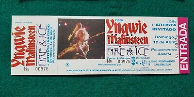 YNGWIE MALMSTEEN 1992 UNUSED TICKET  Spain FREE SHIPPING WORLDWIDE WITH TRACKING 2