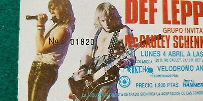 DEF LEPPARD Hysteria Tour  UNUSED TICKET Spain FREE SHIPPING WORLDWIDE TRACKING 4