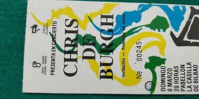 CHRIS DE BURGH  UNUSED TICKET  Spain FREE SHIPPING WORLDWIDE WITH TRACKING 4